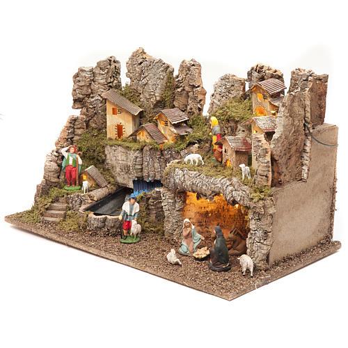 Borgo presepe con fuoco luci con cascata grotta 40x58x38 3