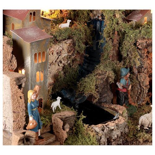 Borgo presepe con fuoco luci con cascata grotta 40x58x38 5