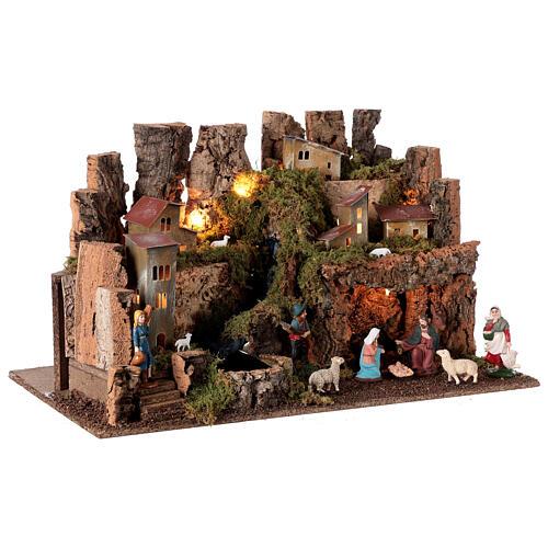 Borgo presepe con fuoco luci con cascata grotta 40x58x38 6