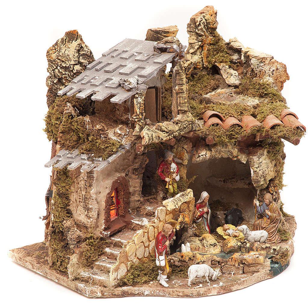 Hütte Dorf für Krippe mit Feuer, 28x38x28cm 4