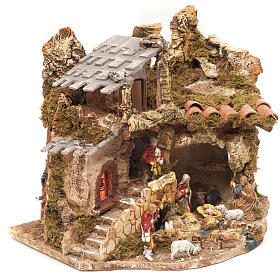 Nativity village, stable with fire 28x38x28cm s2