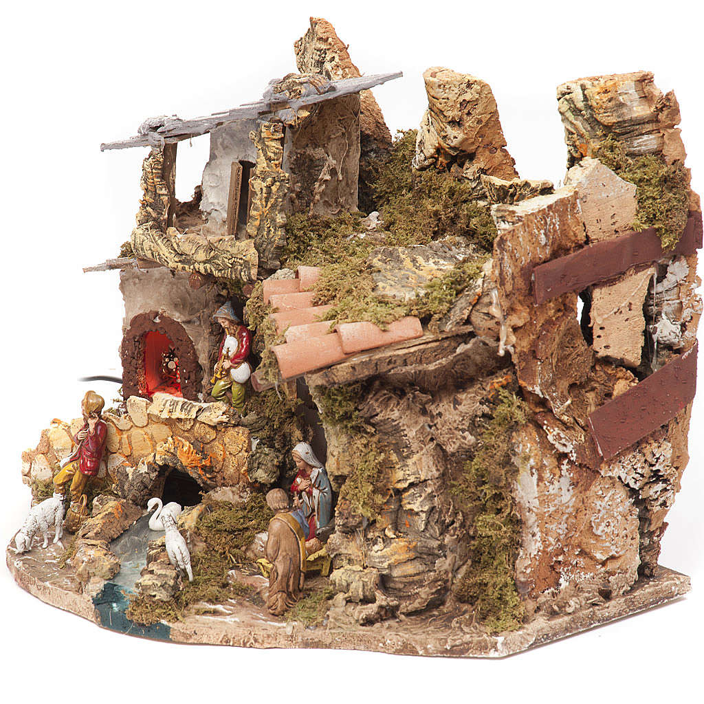 Nativity village, stable with fire 28x38x28cm 4