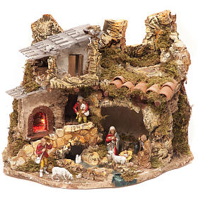 Stables and grottos: Nativity village, stable with fire 28x38x28cm