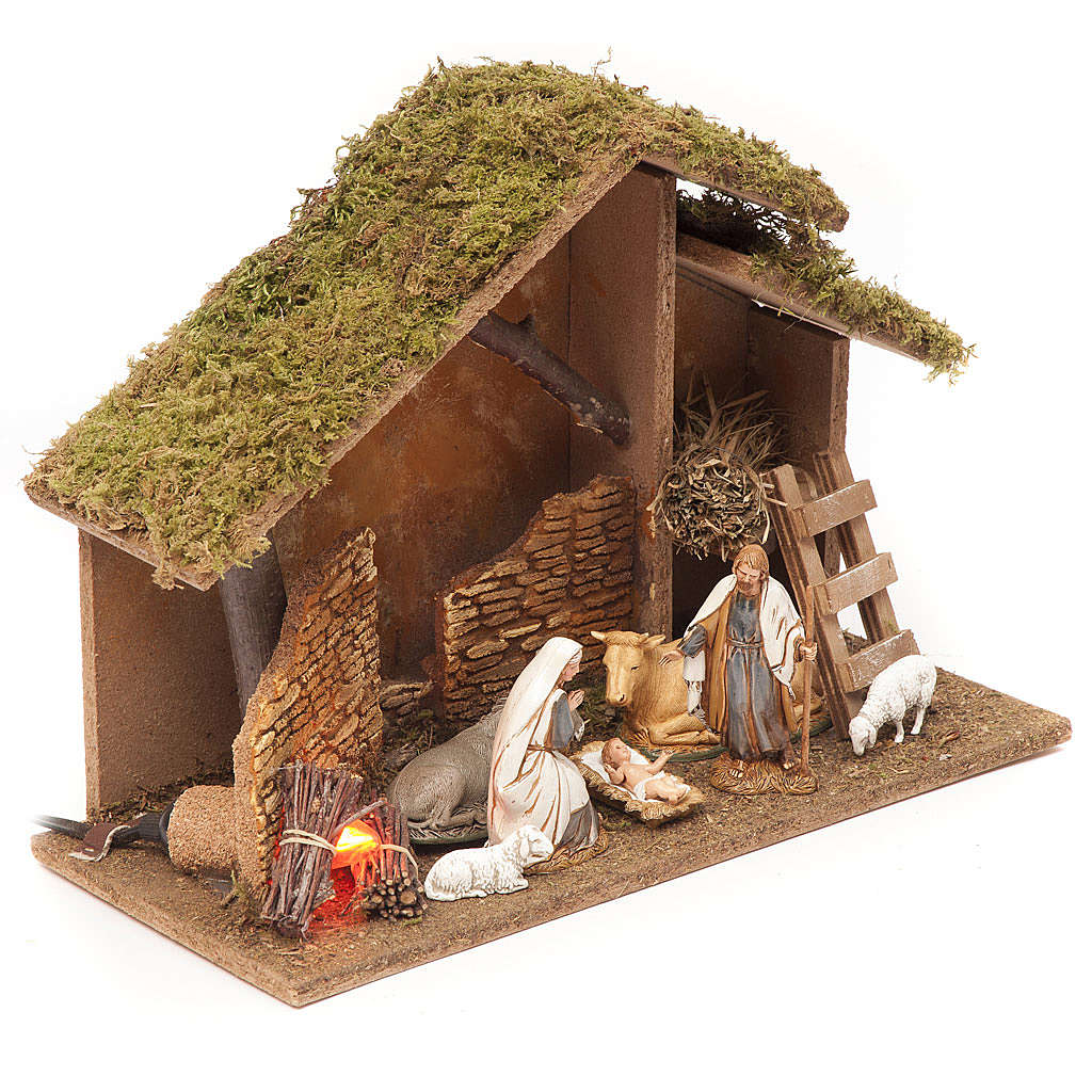 Nativity setting, stable with fire 26x36x16cm 4
