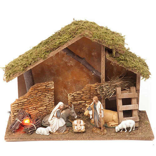 Nativity setting, stable with fire 26x36x16cm 1