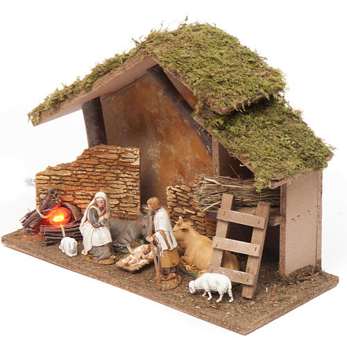 Nativity setting, stable with fire 26x36x16cm 2