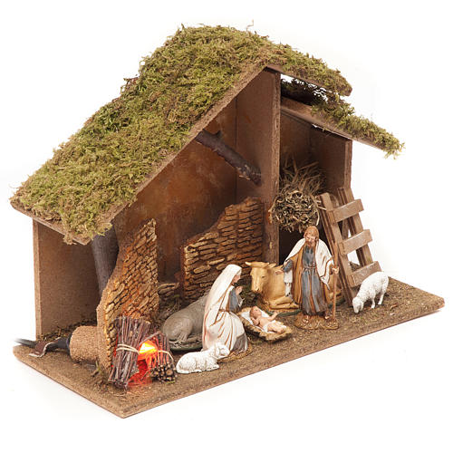 Nativity setting, stable with fire 26x36x16cm 3