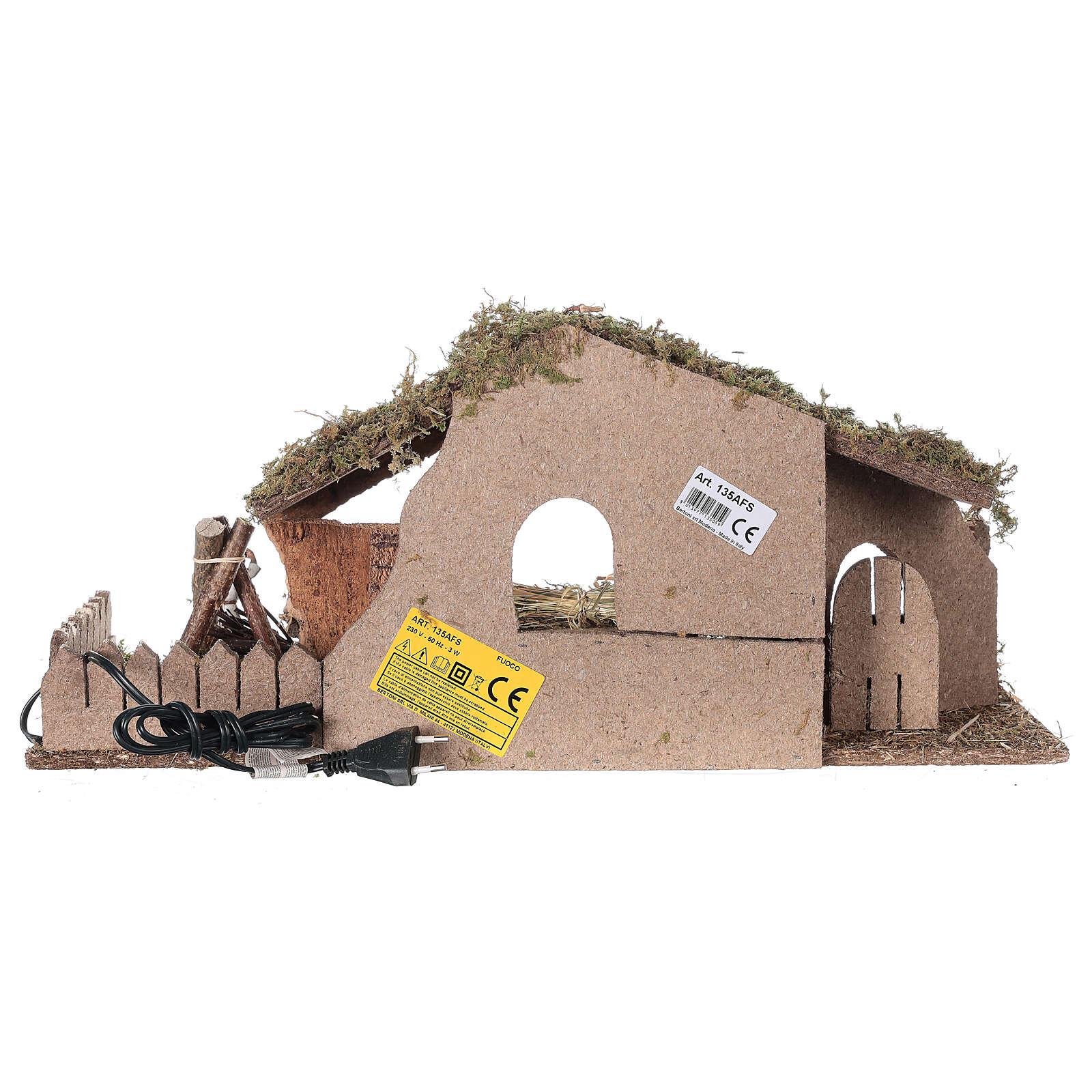 Hütte für Krippe mit Feuer und Bretterzaun, 25x56x21cm 4