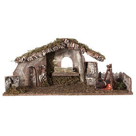 Hütte für Krippe mit Feuer und Bretterzaun, 25x56x21cm s5