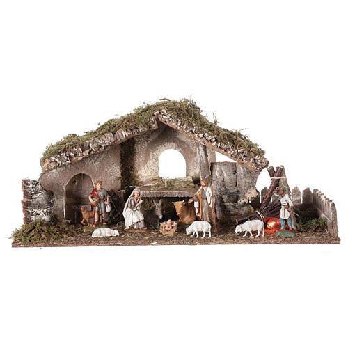 Hütte für Krippe mit Feuer und Bretterzaun, 25x56x21cm 1
