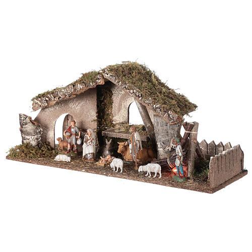 Hütte für Krippe mit Feuer und Bretterzaun, 25x56x21cm 3