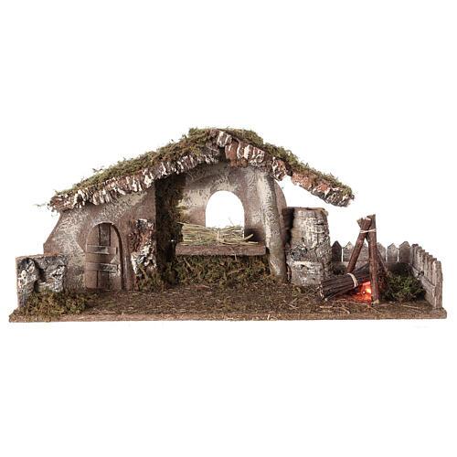 Hütte für Krippe mit Feuer und Bretterzaun, 25x56x21cm 5