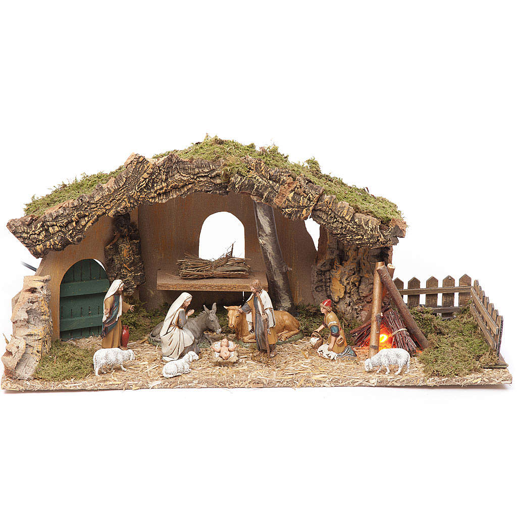 Nativity setting, stable with fire and fence 25x56x21cm 4