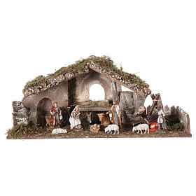 Nativity setting, stable with fire and fence 25x56x21cm s1