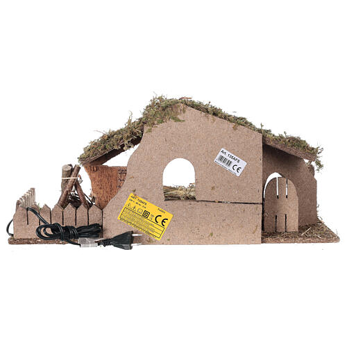 Nativity setting, stable with fire and fence 25x56x21cm 6