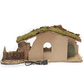 Cabane crèche avec feu et palissade 25x56x21 cm s4