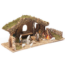 Nativity setting, stable with fire and fence 25x56x21cm s2