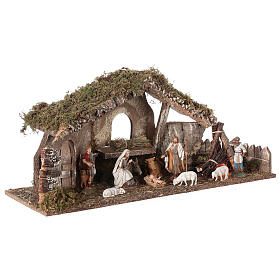 Nativity setting, stable with fire and fence 25x56x21cm s4