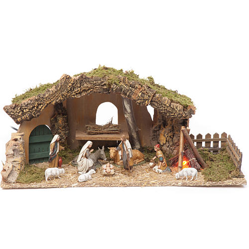 Nativity setting, stable with fire and fence 25x56x21cm 1