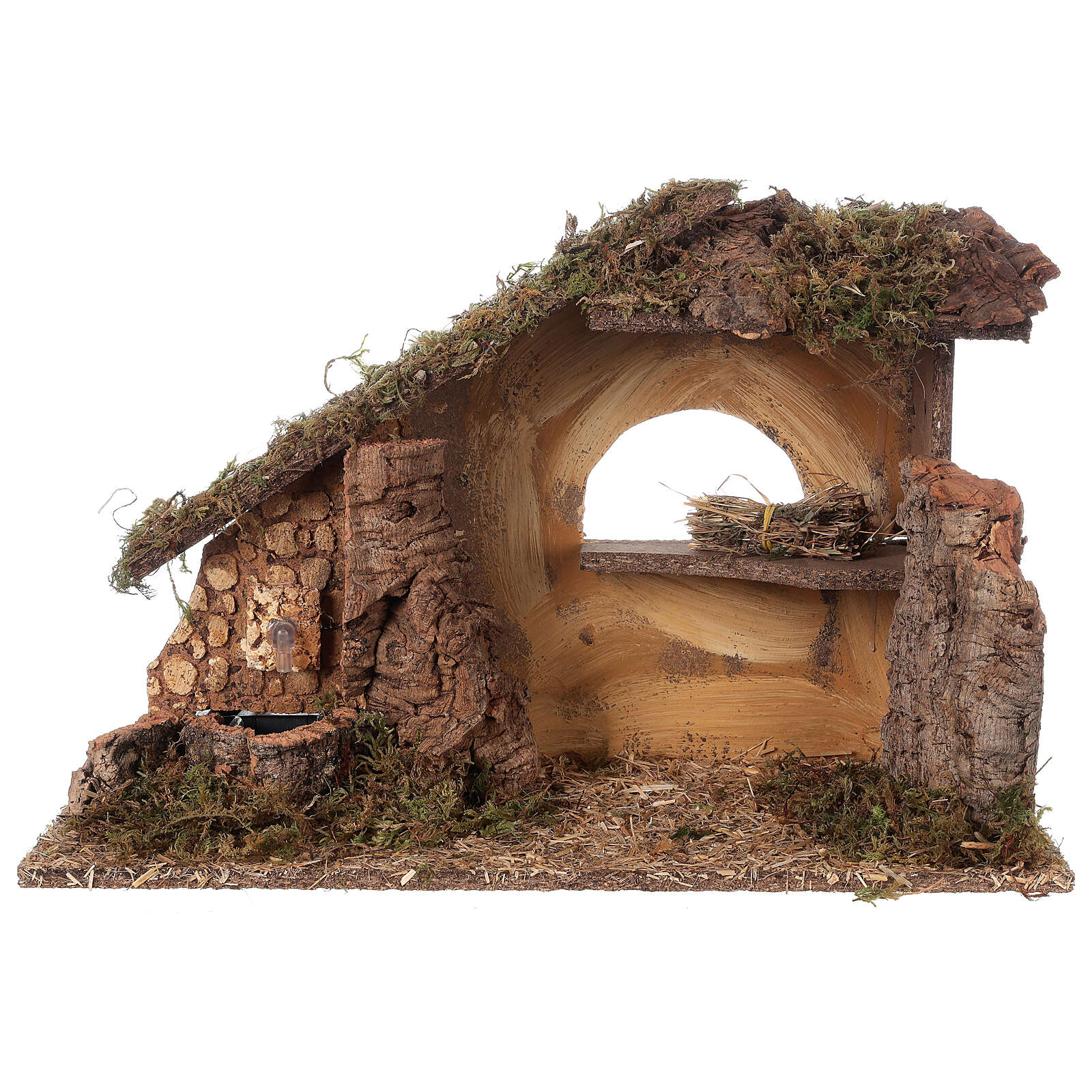 Nativity setting, stable with fountain and barn 28x42x18cm 4
