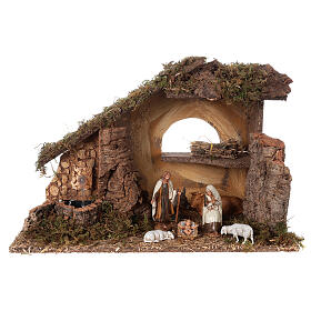 Nativity setting, stable with fountain and barn 28x42x18cm s1