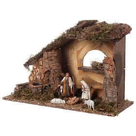 Nativity setting, stable with fountain and barn 28x42x18cm s4