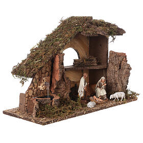 Nativity setting, stable with fountain and barn 28x42x18cm s5
