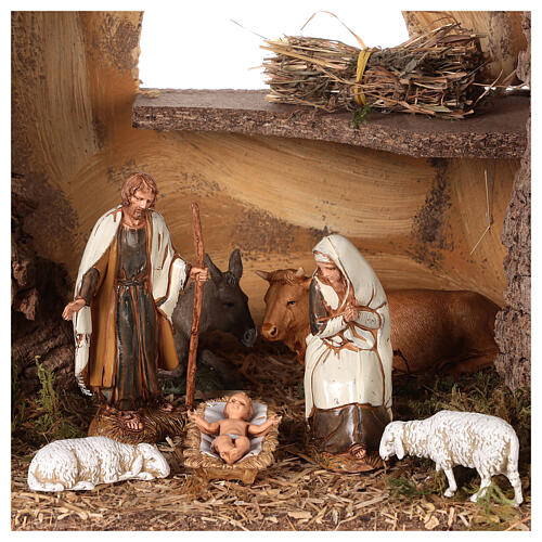 Nativity setting, stable with fountain and barn 28x42x18cm 2