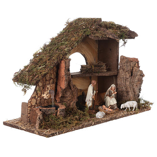 Nativity setting, stable with fountain and barn 28x42x18cm 5