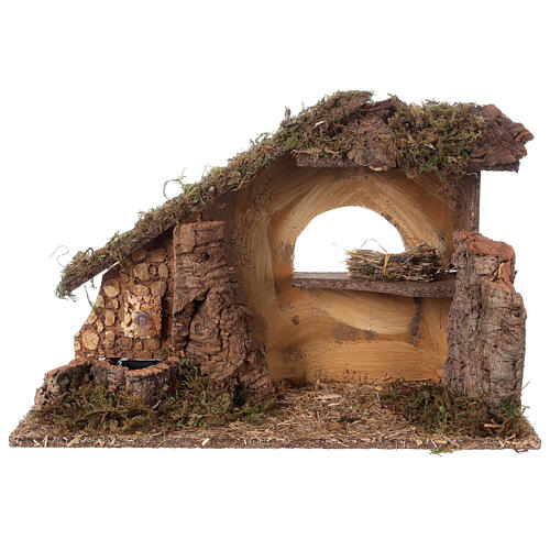 Nativity setting, stable with fountain and barn 28x42x18cm 9