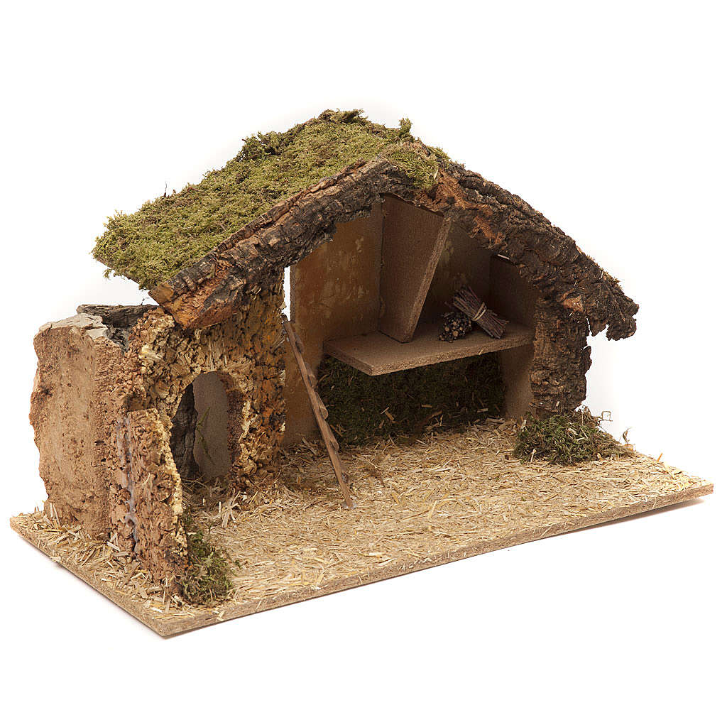 Nativity setting, stable 30x50x24cm in cork and wood 4