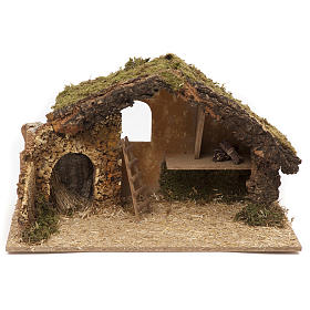 Nativity setting, stable 30x50x24cm in cork and wood s1