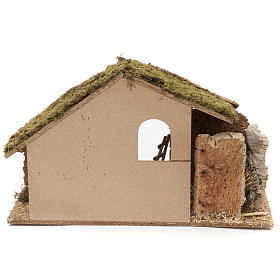 Nativity setting, stable 30x50x24cm in cork and wood s4
