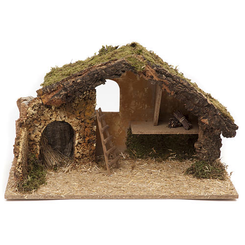Nativity setting, stable 30x50x24cm in cork and wood 1