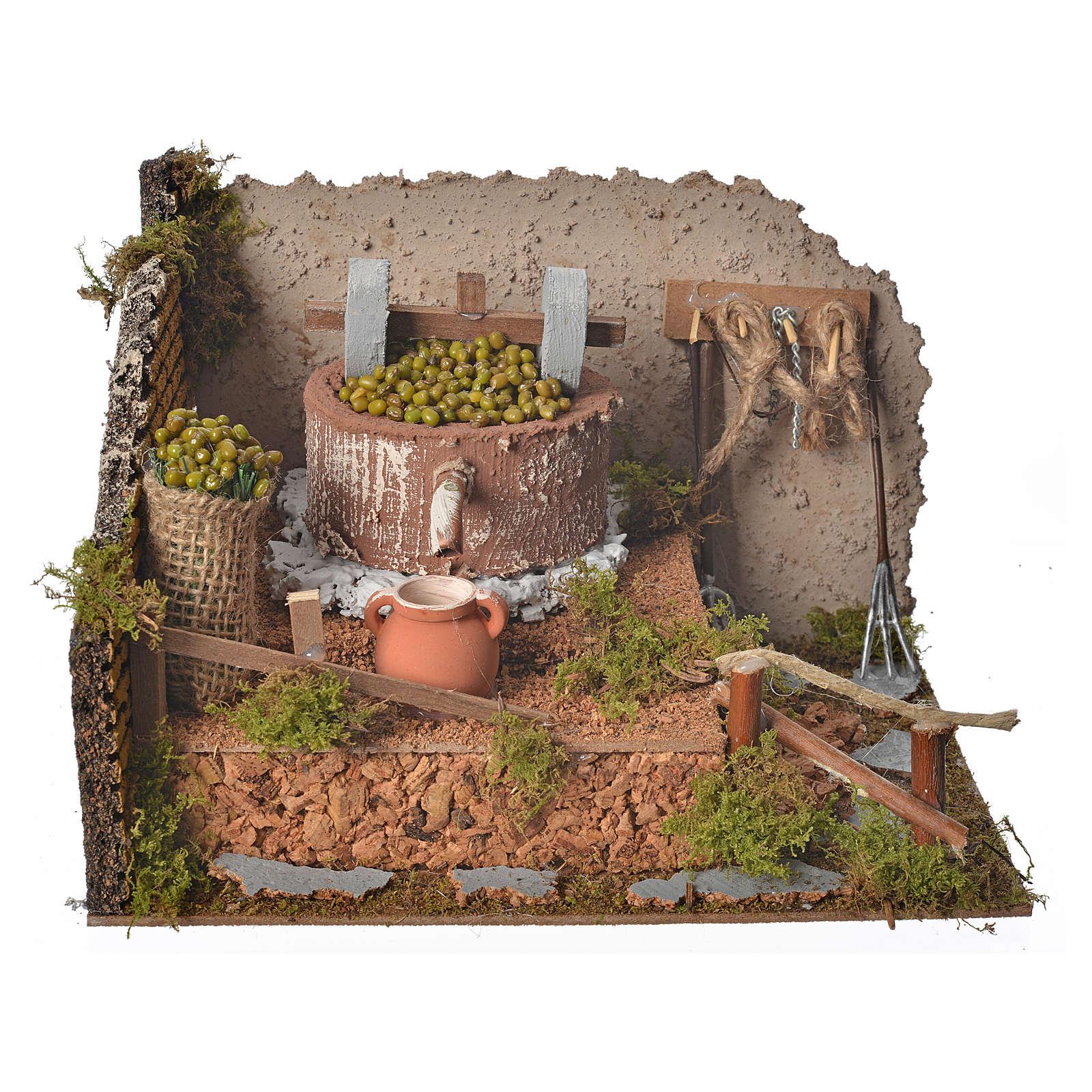 Pressoir à olives pour crèche avec pompe 24x12x17,5 cm 4