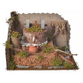 Pressoir à olives pour crèche avec pompe 24x12x17,5 cm s1