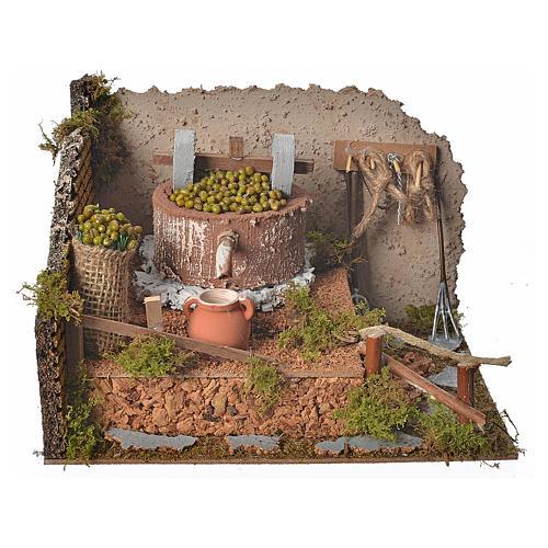 Pressoir à olives pour crèche avec pompe 24x12x17,5 cm 1