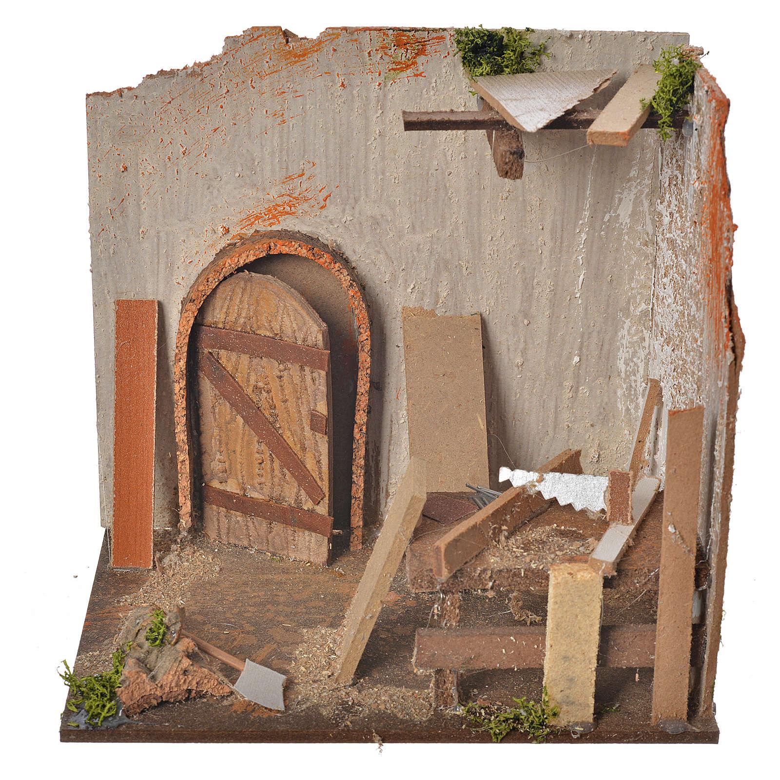 Nativity setting, carpenter's workshop 20x14x20cm 4
