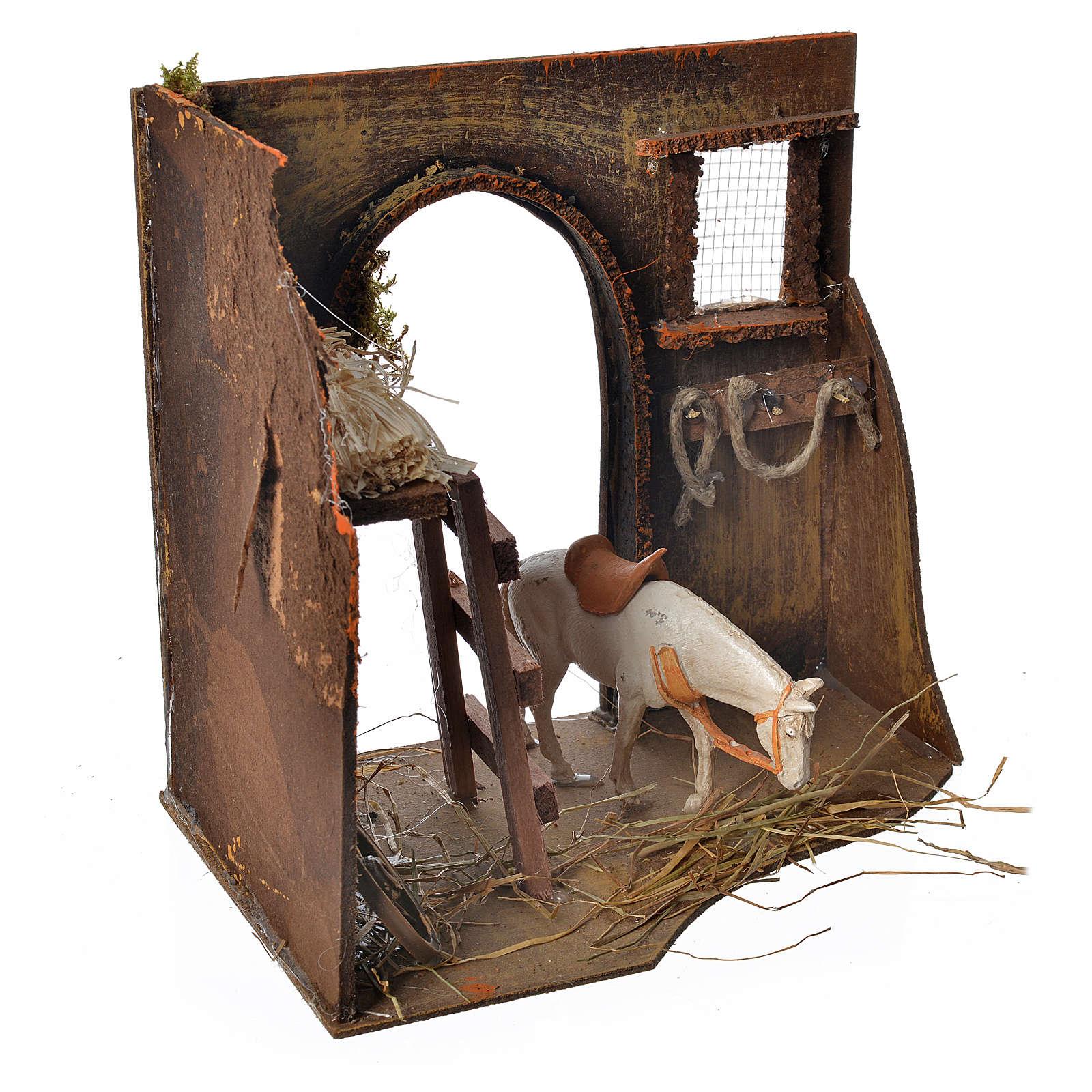 Écurie avec cheval pour crèche 20x14x20 cm 4