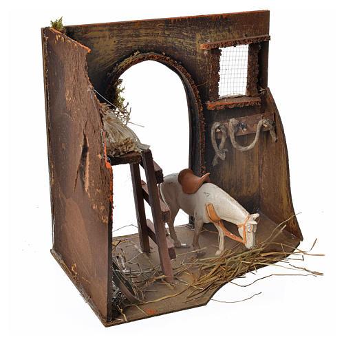 Écurie avec cheval pour crèche 20x14x20 cm 3
