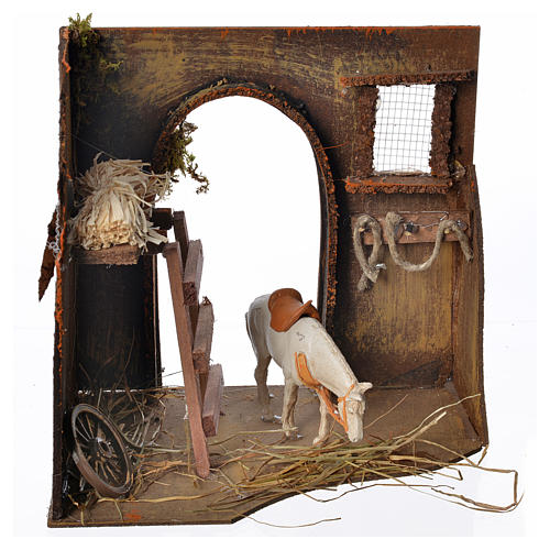 Nativity setting, workshop, manger and horse 20x14x20cm 1