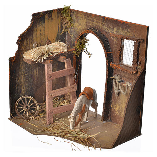 Nativity setting, workshop, manger and horse 20x14x20cm 2