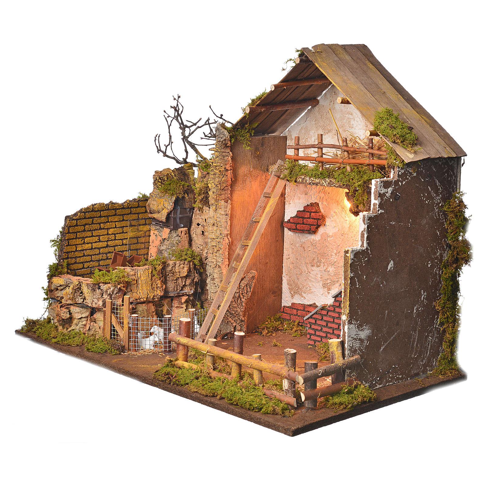 Grange avec lumière et moulin 43x60x34 cm 4