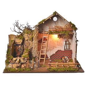 Grange avec lumière et moulin 43x60x34 cm s1