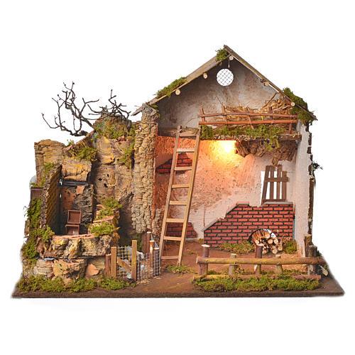 Grange avec lumière et moulin 43x60x34 cm 1