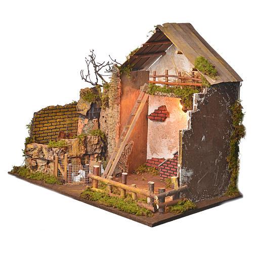 Grange avec lumière et moulin 43x60x34 cm 2