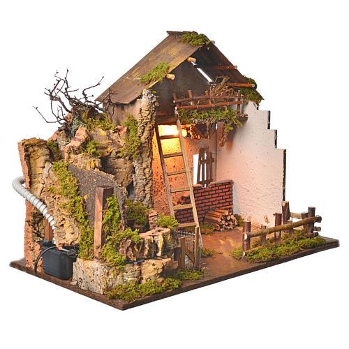 Grange avec lumière et moulin 43x60x34 cm 3