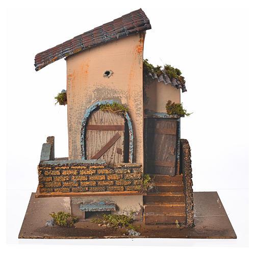 Maison orange balcon et escalier 28x15x27 cm 1