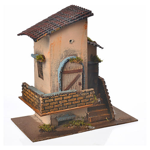 Maison orange balcon et escalier 28x15x27 cm 3