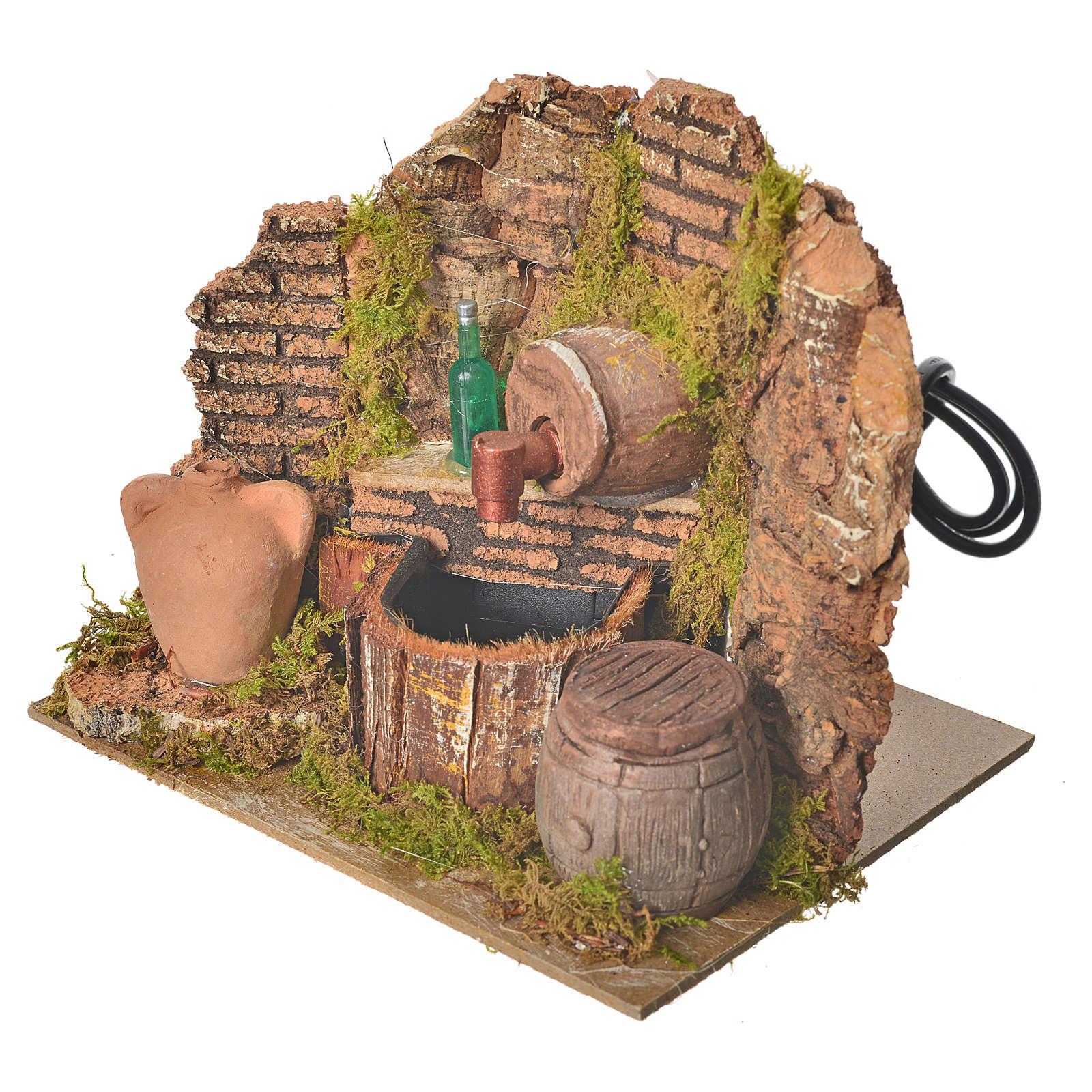 Nativity setting, tavern with pump and bottle 15x12x12cm 4